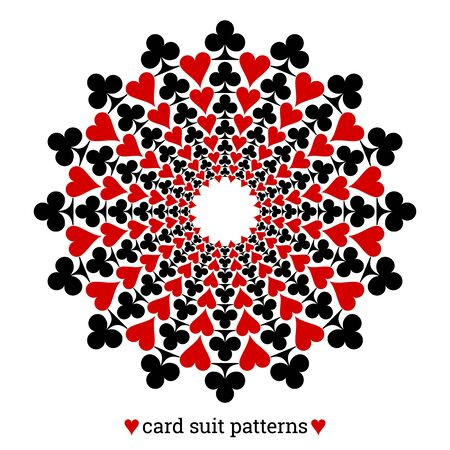 Gambling card suit poker pattern made with clubs and hearts