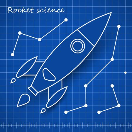 Rocket scince blueprint template with blue background