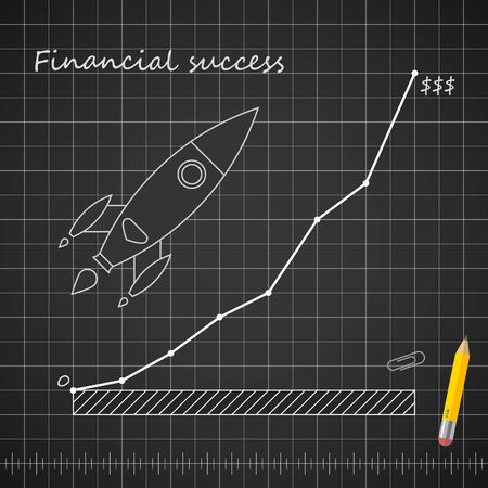 Financial success blueprint template with rocket growth