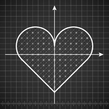 Heart shape drawing template with dark background. Lined template with love technical drawing. Vector illustration scheme.