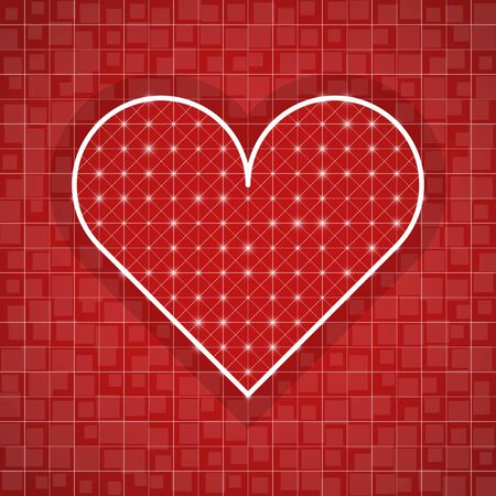 Heart shape drawing template with red background Ilustracja