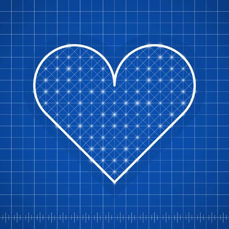 Heart shape drawing template with blue background Ilustracja