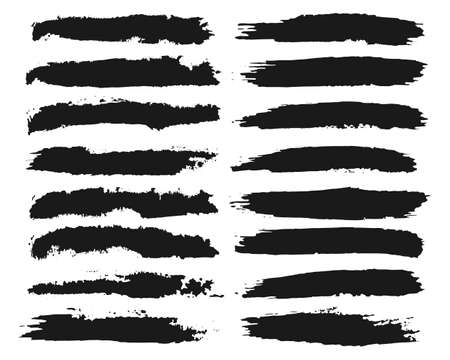 Black hand painted grunge brush strokes collection