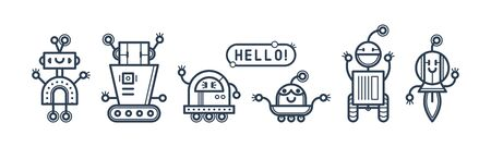 Set of cute vector robots with bubble in flat cartoon style. Vector isolated bots in a white background