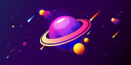 Fantasy colorful art with planets, rings, stars and comets. Cool cosmic background for game or poster design. Vector illustration