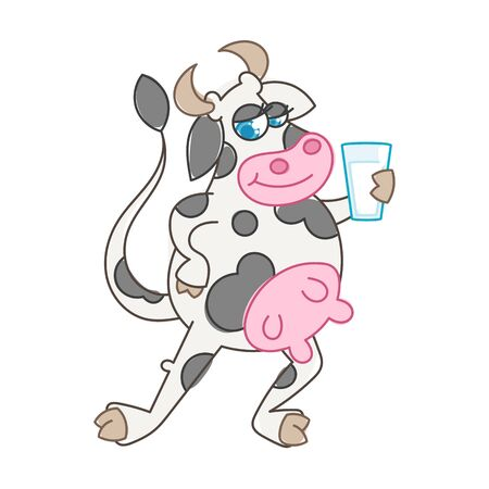 Happy cartoon smiling cow with a glass of milk. Vector illustration of a silly cow, icon childish mascot isolated on white.