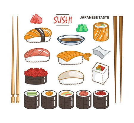 Isolated sushi icon set of different types of rolls with wasabi soy ginger. Delicious vector collection for restaurant and bar menu, booklets or prints  イラスト・ベクター素材