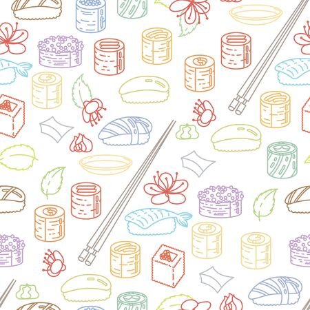 Beautiful sushi seamless pattern. Rolls with fish, chopsticks, ginger and soy sauce. Delicious food vector ornament for restaurant and bar menu, booklets or prints