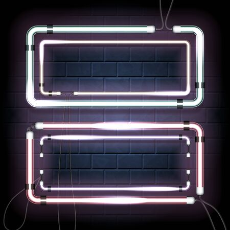 Two neon shine double rectangles with empty place for your text. Set of vintage electronic luminous dual frames on a brick background for your design. Vector illustration