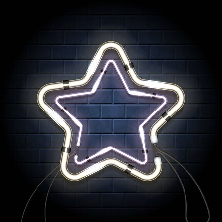 Neon shine double star with empty place for your text. Vintage electronic luminous dual frame on a brick background for your design. Vector illustration
