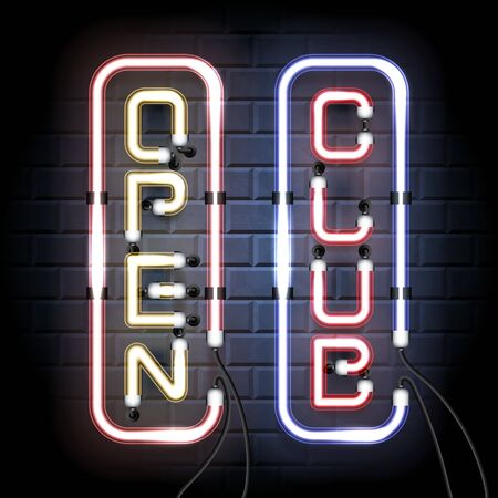 Open Club. Neon shine signboards. Vintage electronic luminous dual signs on a brick background for your design. Vector illustration