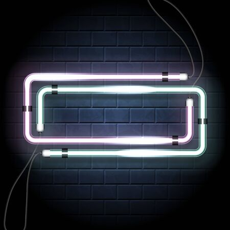 Two neon shine double rectangle with empty place for your text. Set of vintage electronic luminous dual frame on a brick background for your design. Vector illustration