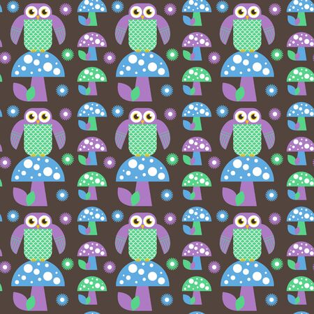 Seamless cute owl and owlet vector illustration pattern. Endless ornament of nice flat birds. Vector unique illustration for design. Illustration