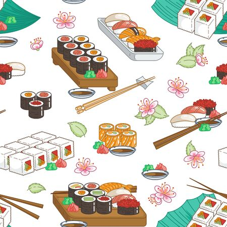 Beautiful sushi seamless pattern. Rolls with fish, chopsticks, ginger and soy sauce. Delicious food vector ornament for restaurant and bar menu, booklets or prints  イラスト・ベクター素材