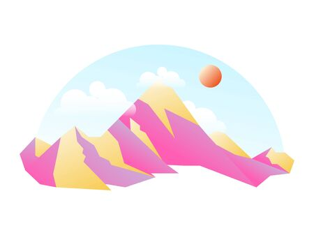 Minimalistic nature mountain landscape. Mountains peaks traveling vacation flat background. Vector concept outdoor design