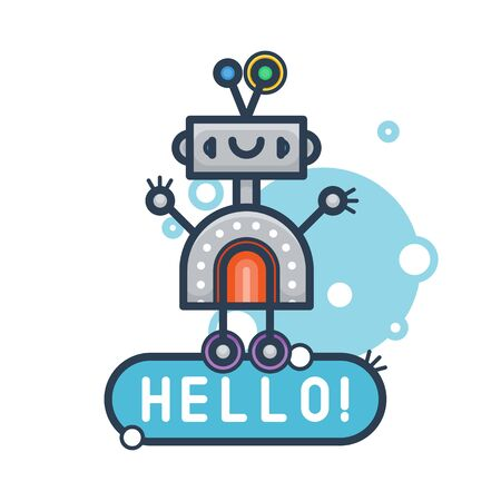 Cute robot say Hello. Vector flat modern cartoon character. Isolated illustration virtual online help customer support on white background. Voice support service chat bot with speak bubble