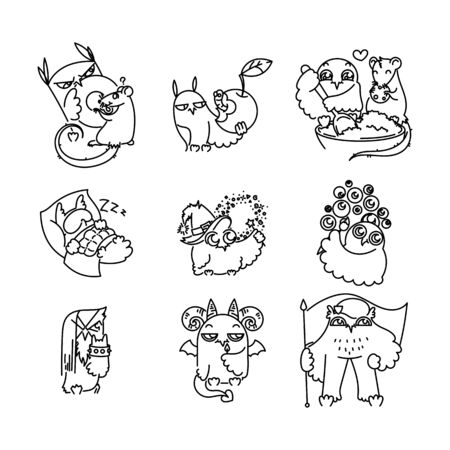 Set of various cute owls in line style. Print for poster, t-shirt,  sticker, textile or bags. Vector illustration
