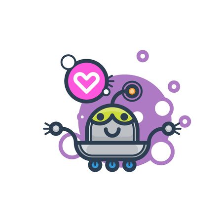 Cute robot in love. Vector flat modern cartoon character. Isolated illustration virtual online help customer support on white background. Voice support service chat bot with speak bubble