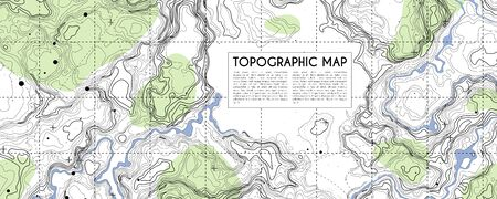 Abstract topographic map background. Topo backdrop lines, contour, geographic grid. Vector illustration with place for text