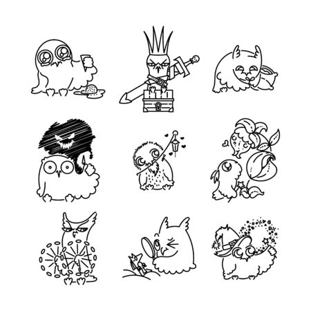 Set of various cute owls in line style. Print for poster, t-shirt, logo, stiker, textile or bags. Vector illustration