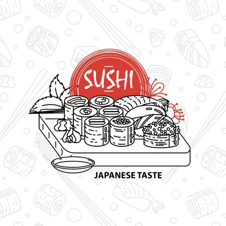 Sushi. Japanese food. Rolls with fish and caviar on eco plate, chopsticks, ginger and soy sauce. Delicious vector illustraton for restaurant and bar menu, booklets or prints