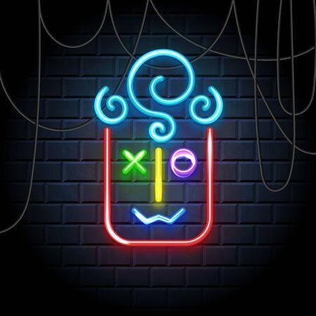 Emoji neon icon. Happy smile illumination symbol, emoticon expression of feelings, label on dark brick wall. Vector illustration