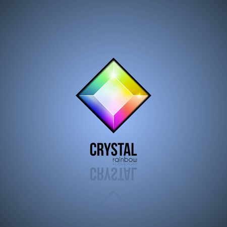 Rainbow crystal. Trendy gradient design facet gem. Shape logo in multiple colors for business visual identity. Vector geometric icon Vectores
