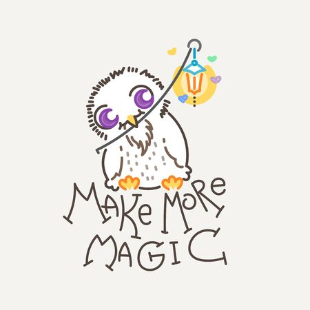 Make more Magic. Cute owl in line style with quote. Print for poster, t-shirt, sticker, textile or bags. Vector illustration Illustration