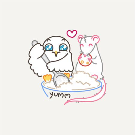 Yumm. Cute owl and rat cooking salad in line style with quote. Print for poster, t-shirt, sticker, textile or bags. Vector illustration Ilustração