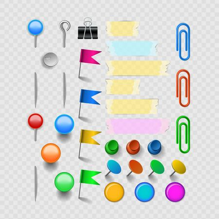 Vector office accessories set with pins and staples, clips scotch and magnets. Isolated on transparent background illustration