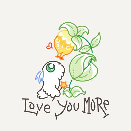 Love you more. Cute owl in line style with quote. Print for poster, t-shirt, sticker, textile or bags. Vector illustration