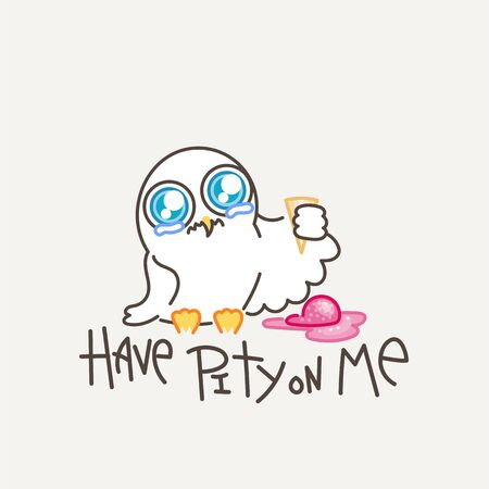 Have pity on me. Cute owl in line style with quote. Print for poster, t-shirt, sticker, textile or bags. Vector illustration