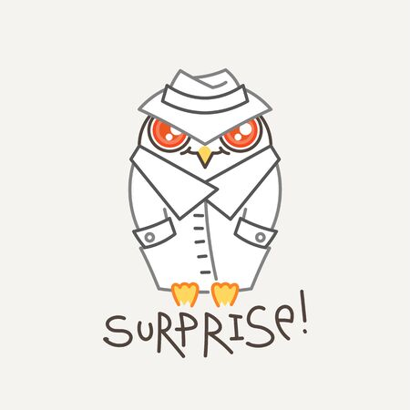 Surprise. Cute owl in line style with quote. Print for poster, t-shirt, sticker, textile or bags. Vector illustration