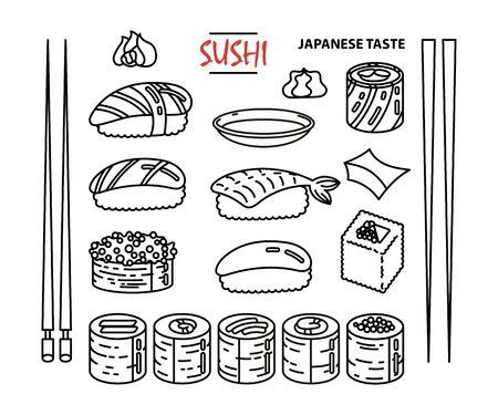 Isolated sushi icon set of different types of rolls with wasabi soy ginger. Delicious vector collection for restaurant and bar menu, booklets or prints Çizim