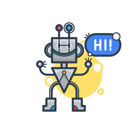 Cute robot say Hi. Vector flat modern cartoon character. Isolated illustration virtual online help customer support on white background. Voice support service chat bot with speak bubble Illustration