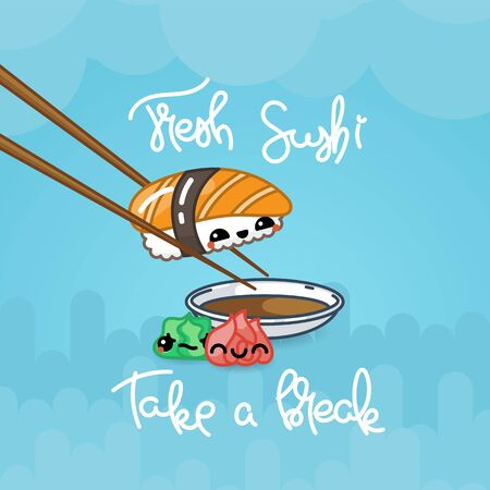 Fresh sushi. Take a break. Kawaii sushi poster with cute sushi characters. Vector chinese illustration, taste design