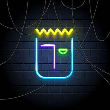 Emoji neon icon. Happy smile illumination symbol, emoticon expression of feelings, label on dark brick wall. Illustration
