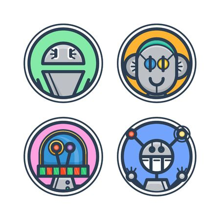 Set of flat robot avatars for apps and games, web-design, media, social networks icons.