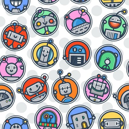 Kawaii robot trendy seamless pattern in retro style. Modern endless tech ornament for kids.