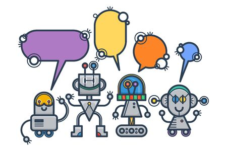 Kawaii smiling robots with speech bubbles. Isolated trendy flat cartoon characters. Voice support service chat bots. Vector virtual online help customer support Vettoriali
