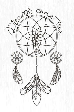Ornate dream catcher with feathers.