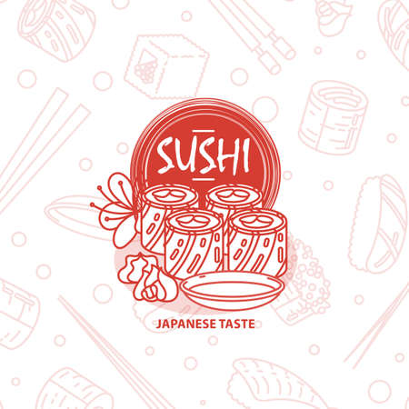 Sushi. Japanese food. Rolls with fish and caviar on eco plate, chopsticks, ginger and soy sauce. Delicious vector illustration for restaurant and bar menu, booklets or prints