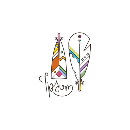Boho feather, native symbol, natural, writer literary vector logo. Hipster vector emblem with fluffy plume illustration
