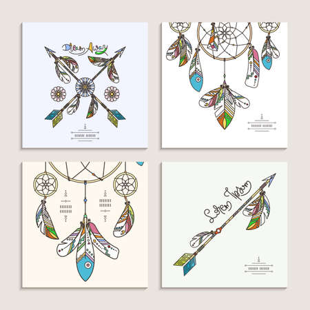 Collection of drnate dream catcher templates. Vector abstract illustration with feathers, modern line style. Background or greeting card with place for your text Ilustración de vector