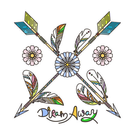Dream Away. Arrow and feathers. Native American Indian talisman, tattoo art, coloring book for adults. Vector hipster and boho illustration on white background
