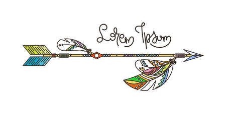 Arrow and feathers. Native American Indian talisman, tattoo art, coloring book for adults. Vector hipster and boho illustration on white background