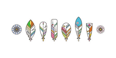 Set of ornamental boho style feathers. Vector illustration, tattoo and symbol template. Trendy modern tribal collection. Hipster and hippie design elements  イラスト・ベクター素材