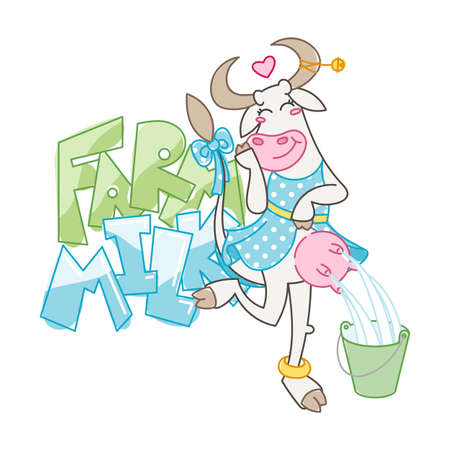 Farm milk. Happy cartoon smiling milking cow in cute dotted dress. Vector illustration of a silly cow, icon childish mascot isolated on white. Vector Illustratie