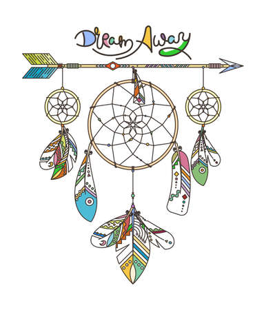 Dream Away. Ornate dream catcher with feathers. Vector abstract illustration, modern line style. Background or greeting card with place for your text
