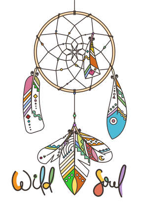 Wild Soul. Ornate dream catcher with feathers. Vector abstract illustration, modern line style. Background or greeting card with place for your text Vettoriali
